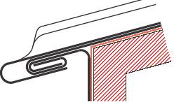 Figur10:25. Enkel språngfals med rörelsemån. Används i första hand vid anslutning till gesimsrännor och försänkta ränndalar. Figuren visar en fotplåt som är dubbelfalsad till rännplåten.