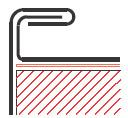 Figur10:27. Stående vinkelfals i takkant och på krön. Används för att sammanfoga taktäckning eller krönbeslag med hängskivor.
