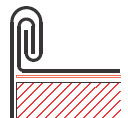 Figur10:28. Dubbelfals i takkant och på krön. Används för att sammanfoga taktäckning eller krönbeslag med hängskivor. Denna fals ger en starkare sammanfogning än figur 10:27 .