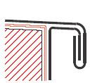 Figur10:29. Enkelfalsat prång med lodrät droppkant. Används för att sammanfoga taktäckning eller krönbeslag med skyddsbeslag, takfotslist eller sidobeslag.