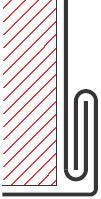 Figur10:32. Hörnfals. Används i hörn på luckor och invändigt vid stosanslutning.