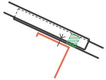 Figur10:40. Fast ändöverlapp. Används som tvärgående skarv mellan trapetsprofilerade plåtar på tak där rörelsemån inte krävs.