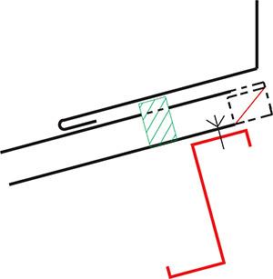 Figur10:60. Vinge över och tvärs profilerad plåt med tätning.