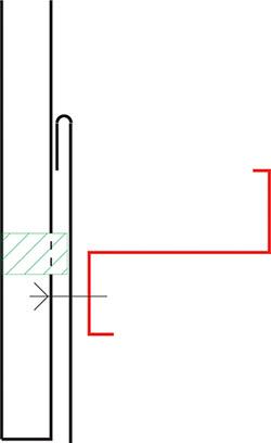 Figur10:67. Uppdragning av beslag med drivvattenhake bakom profilerad plåt.