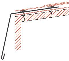 Figur10:70. Anslutning av tätskiktsmatta eller takduk till fotplåt vid taksprång.