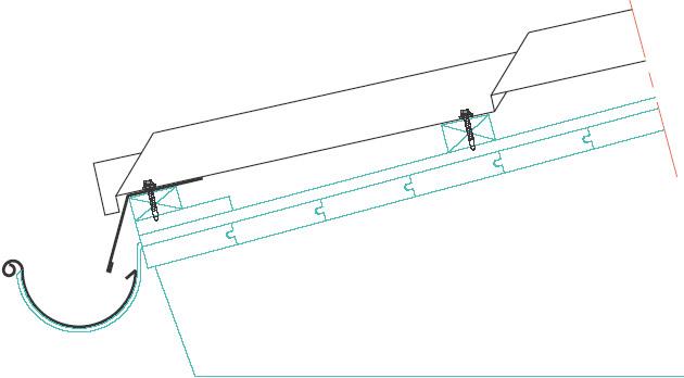 Figur 10:74. Takfot vid takpannetak enligt Gasell Profil AB.