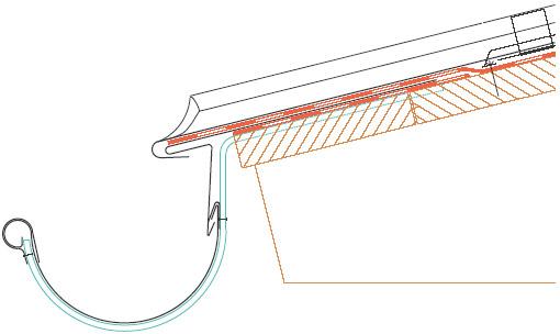 Figur 10:75. Takfot vid täckning med titanzink enligt Rheinzink Sverige.