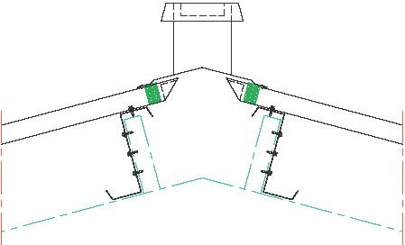 Figur 10:93. Ventilationshuv i nock på trapetsprofilerad plåt enligt Gasell Profil AB.
