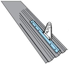 Figur 11:65. Infästningsprofil för profilerad stålplåt. Figur:Weland Stål AB.